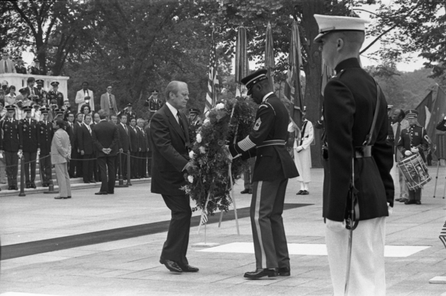 President Gerald R. Ford and a Member of the 3rd U.S. Infantry Old Guard Placing a Wreath at the Tomb of the Unknown Solider in Arlington National Cemetery on Memorial Day