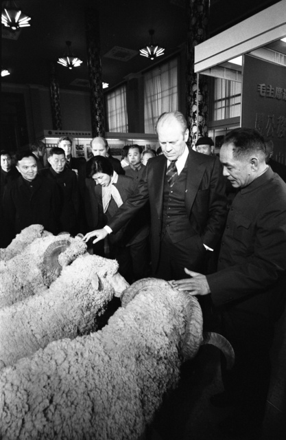 President Gerald R. Ford and Chinese Officials Viewing Sheep on Display in the Agricultural Exhibition Hall in Peking, People's Republic of China