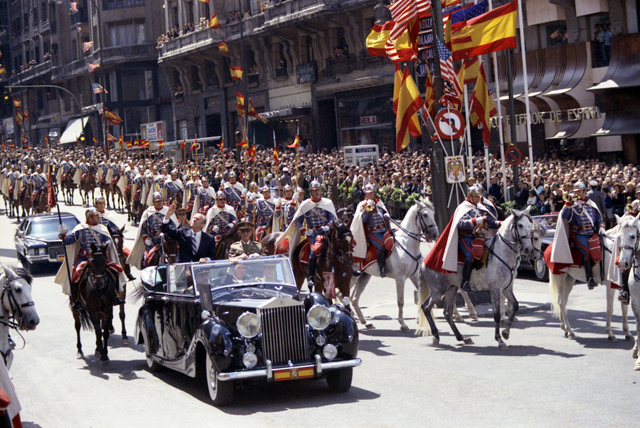 President Gerald R. Ford and Generalissimo Francisco Franco Riding in a Ceremonial Parade in Madrid, Spain