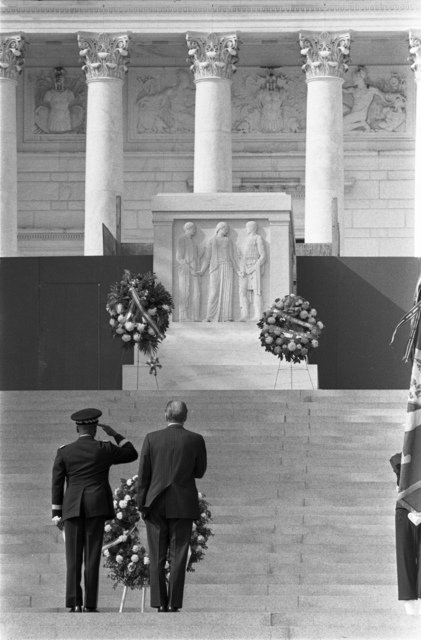 President Gerald R. Ford and Major General Frederic Davison Saluting the Tomb of the Unknown Soldier during a Veterans Day Ceremony at Arlington National Cemetery