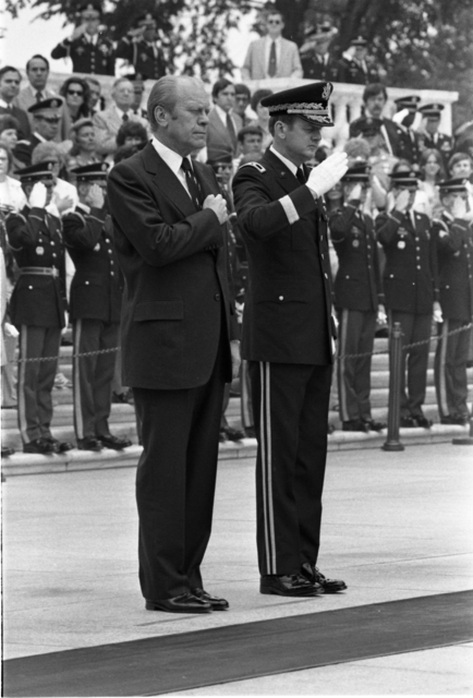 President Gerald R. Ford and Major General Robert Yerks Render Honors at the Tomb of the Unknown Soldier in Arlington National Cemetery on Memorial Day