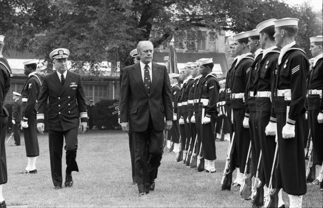 President Gerald R. Ford and Rear Admiral Ralph H. Carnahan, Commandant of the Naval District of Washington, Inspecting Sailors Assembled in Admiral Leutze Park at the Washington Navy Yard for the 200th Anniversary Celebration of the U.S. Navy
