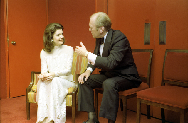 President Gerald R. Ford Chatting with Jacqueline Kennedy Onassis at an Intermission Reception during a Bicentennial Salute to the Performing Arts at the John F. Kennedy Center for the Performing Arts