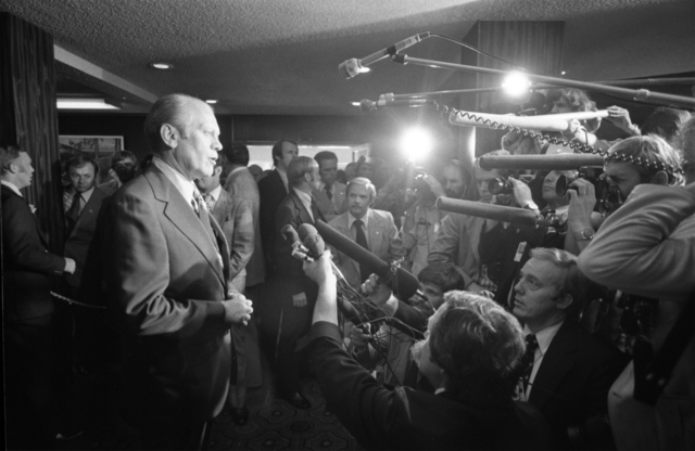 "President Gerald R. Ford Delivering a Statement to the Media at the State Capitol Building in Sacramento, California, Following an Assassination Attempt by Lynette ""Squeaky"" Fromme"