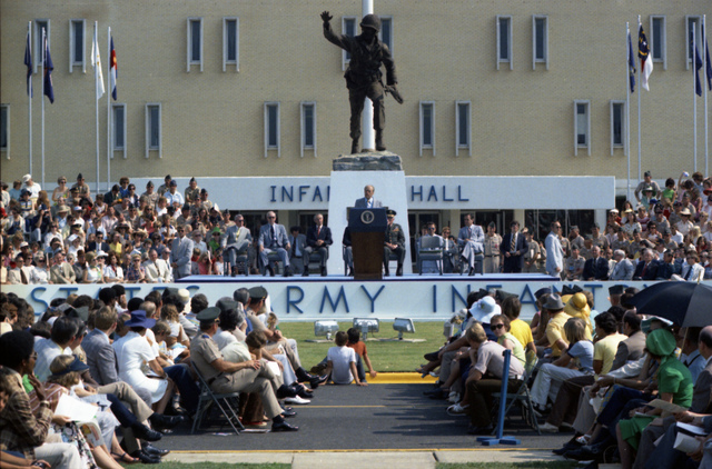 "President Gerald R. Ford Delivering Remarks in Front of Infantry Hall and the ""Follow Me"" Statue at Fort Benning, Georgia, in Celebration of the 200th Anniversary of the U.S. Army and U.S. Army Infantry"