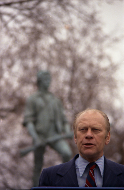 President Gerald R. Ford Delivering Remarks in front of the Minuteman Statue during a Bicentennial Ceremony at Lexington Green