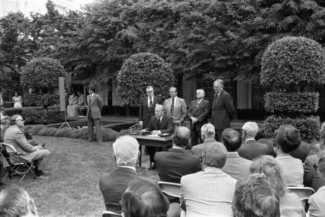 President Gerald R. Ford Delivering Remarks in the East Garden of the White House during the Signing Ceremony for H.R. 10230, Creating the Office of Science and Technology (OSTP)