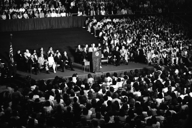 President Gerald R. Ford Delivering Remarks in the Tulane University Field House during a Tulane University Convocation Ceremony in New Orleans, Louisiana