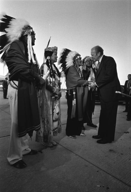 President Gerald R. Ford Greets Kiowa Tribal Chairman Big Bow and other Native Americans at a Campaign Rally in Lawton, Oklahoma