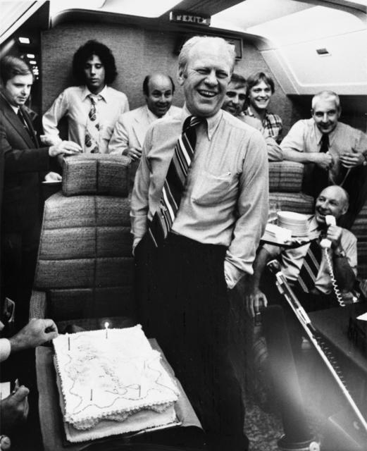 President Gerald R. Ford, Jack Ford, Joe Garagiola, Bob Barrett, and Others Aboard Air Force One on a Return Flight from Pennsylvania