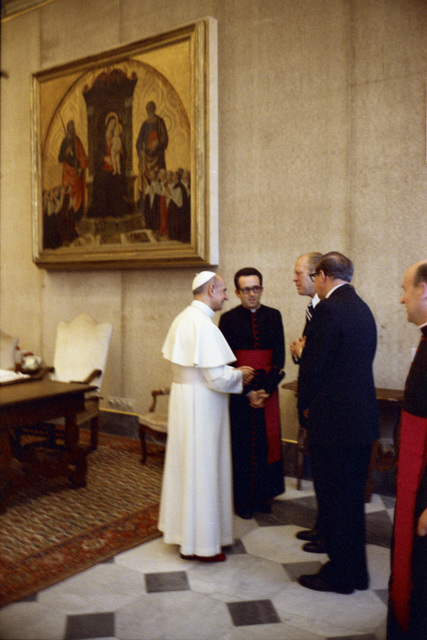 President Gerald R. Ford Meeting with Pope Paul VI, Bishop Jacques Martin, and Others in the Papal Library at the Vatican