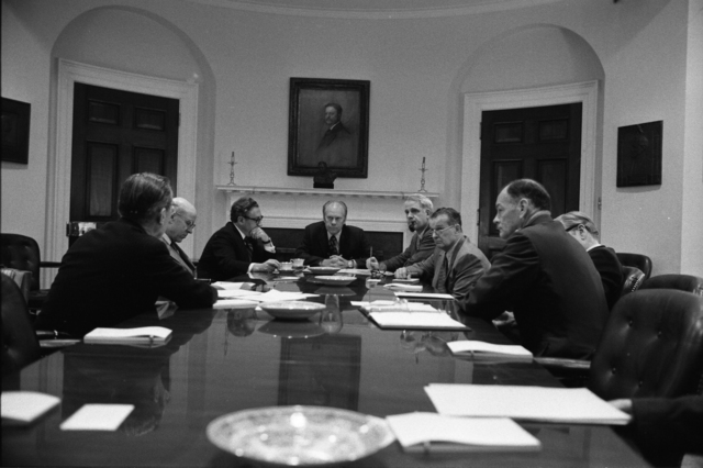 President Gerald R. Ford Presiding Over a National Security Council Meeting Regarding the Situation in South Vietnam