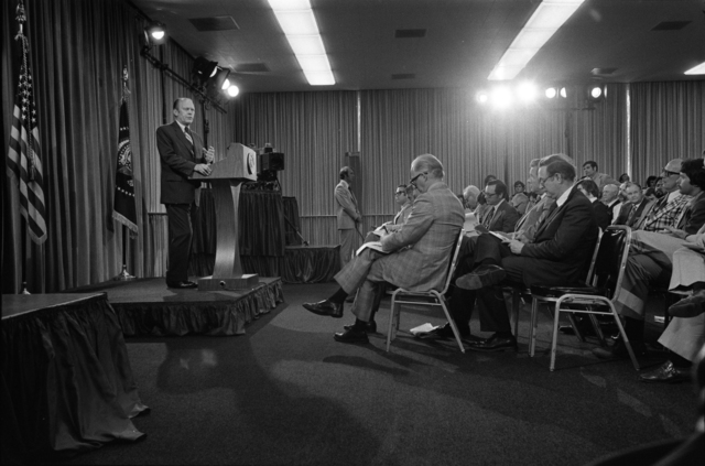 President Gerald R. Ford Speaking at His 12th Press Conference at the San Diego Convention Center