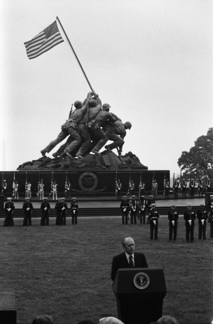President Gerald R. Ford Speaking at the Marine Corps War Memorial (Iwo Jima Memorial) in Commemoration of the 200th Anniversary of the U.S. Marine Corps
