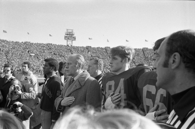 President Gerald R. Ford Standing with the Team Captains Prior to the Start of the 75th Army-Navy Football Game