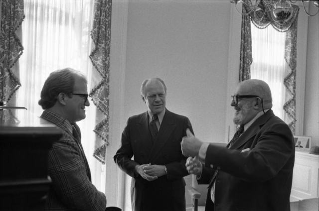 President Gerald R. Ford Talking with Ansel Adams and William Turnage