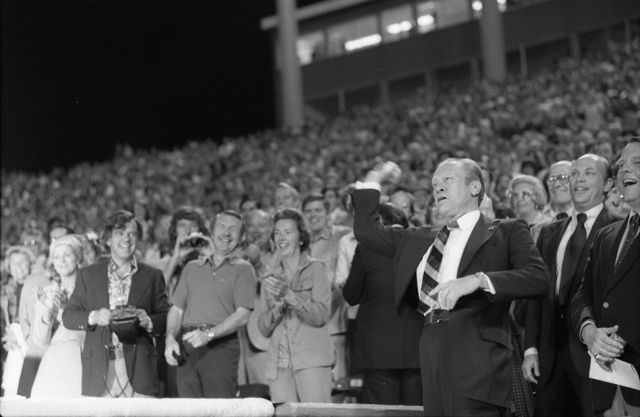 President Gerald R. Ford Throws Out the First Pitch at the Texas Rangers' Opening Day Baseball Game
