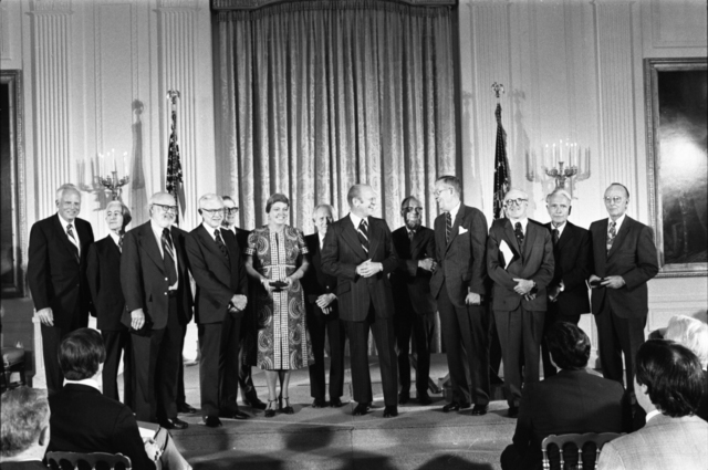 President Gerald R. Ford With Recipients of the National Medal of Science in the East Room