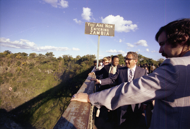 Secretary of State Henry Kissinger Viewing Victoria Falls from a Bridge on the Border Between Zambia and Rhodesia during a Trip to Africa