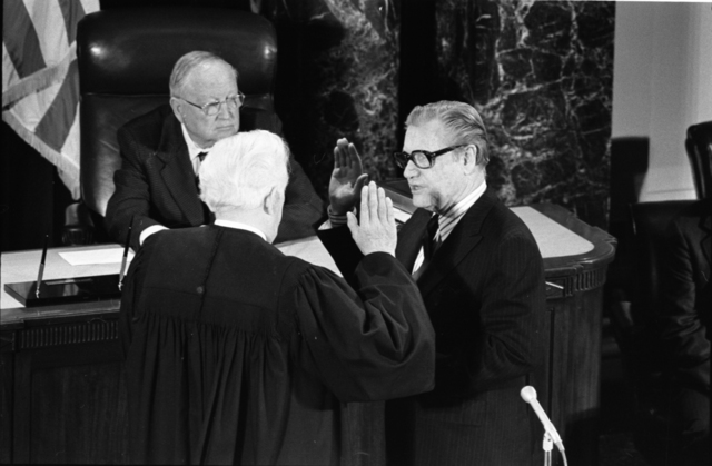 Supreme Court Justice Warren Burger Administering the Oath of Office to Vice President Nelson A. Rockefeller in the Senate Chamber in the United States Capitol