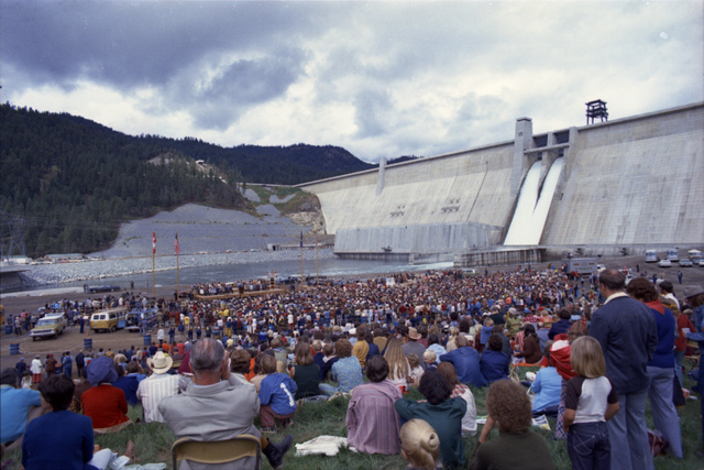View of the Crowd at the Dedication Ceremony for Libby Dam in Libby, Montana