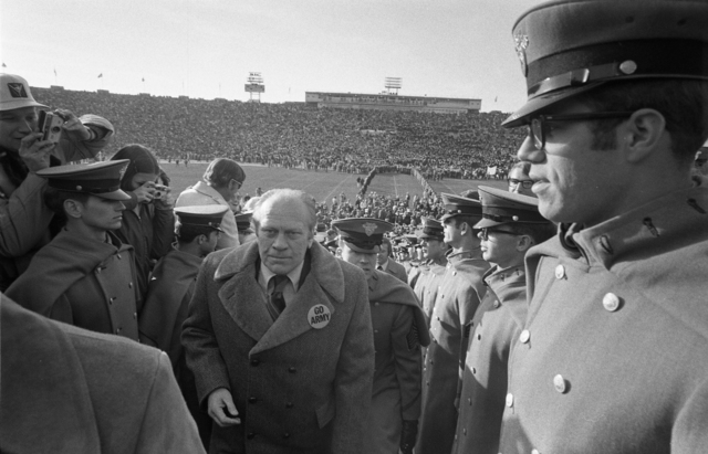 West Point Cadets Watching as President Gerald R. Ford Goes to His Seat on the Army Side of the Field for the Second Half of the 75th Army-Navy Football Game at John F. Kennedy Stadium