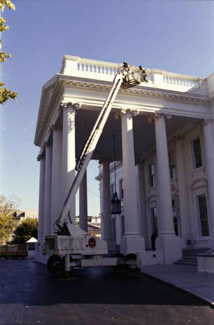 Workers Painting the North Side of the White House