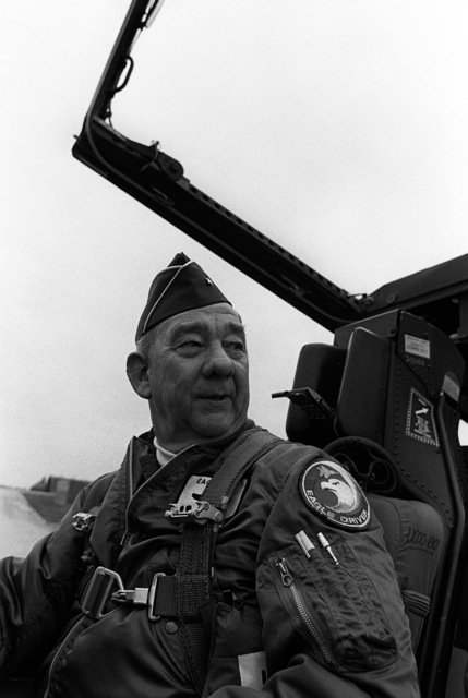 BGEN Frederick C. Kyler, commander of the 36th Tactical Fight Fighter Wing, sits in the cockpit of an F-15 Eagle aircraft after completing a flight