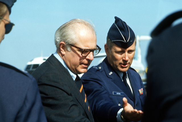 Secretary of the Air Force John C. Stetson is greeted by BGEN Stuart H. Sherman Jr., commander of the 1ST Strategic Aerospace Division, upon his arrival for a visit to the base