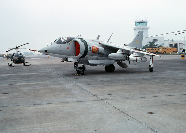 A left front view of a Spanish navy AV-8S Matador aircraft parked on the flight line