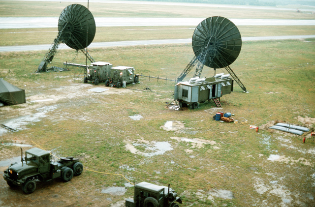 A mobile radar installation in use during joint readiness training exercise SOLID SHIELD '77