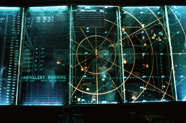 A plotting screen in the AN/TSQ-91 Tactical Air Control Center during joint readiness training exercise SOLID SHIELD '77