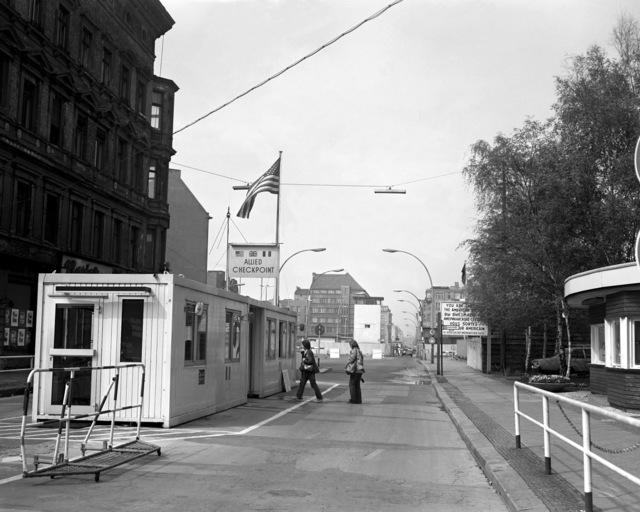 A view of Checkpoint Charlie, the crossing point for foreigners who are visiting East Berlin