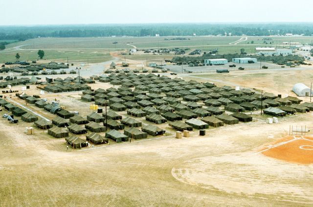 An aerial view of the tent city complex in use during joint readiness training exercise SOLID SHIELD '77