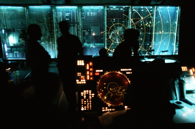 Tracking equipment and plotting boards in use in the AN/TSQ-91 Tactical Air Control Center during joint readiness training exercise SOLID SHIELD '77