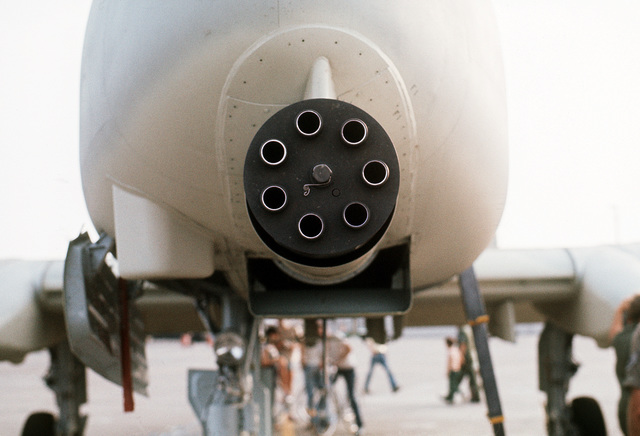 A front view of the General Electric GAU-8A Avenger 30mm seven-barrel cannon mounted in the nose of an A-10 Thunderbolt II aircraft. The A-10 is on static display during a demonstration tour of air bases in Korea to familiarize Korean and American field commanders with its capabilities