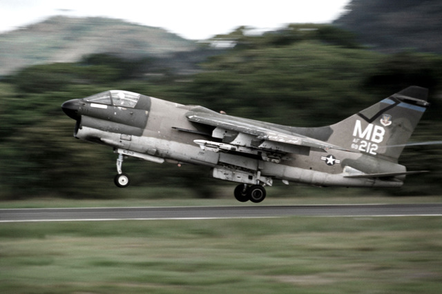 An A-7D Corsair II aircraft takes off from Howard Air Froce Base to provide close air support for troops participating in an Army training and evaluation program (ARTEP)