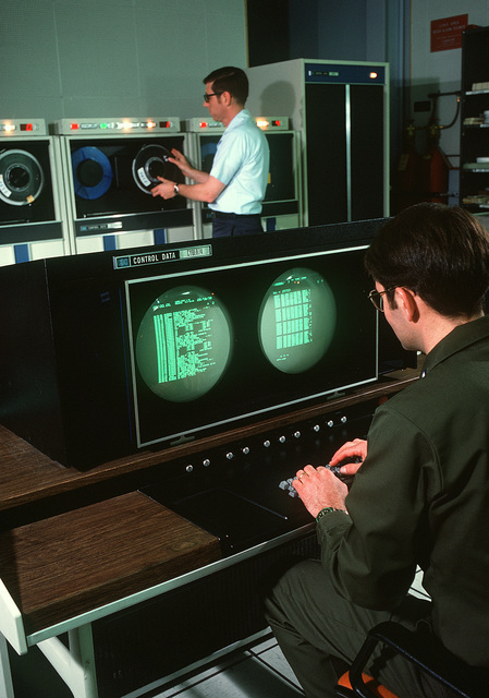 Personnel inside the data processing center for COBRA DANE, an intelligence-gathering phased-array system specially constructed to monitor Soviet ballistic missile testing on Siberia's Kamchatka Peninsula