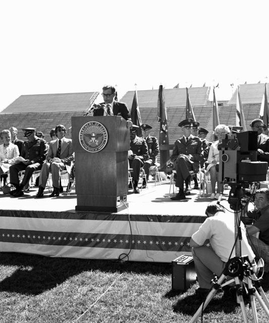 Secretary of Defense Harold Brown is the guest speaker during graduation ceremonies being held at the Air Force Academy stadium