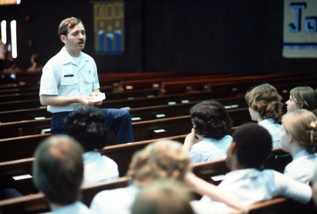 Chaplain (Captain) Brian D. Talcott, a Christian Scientist, conducts a service at the base chapel