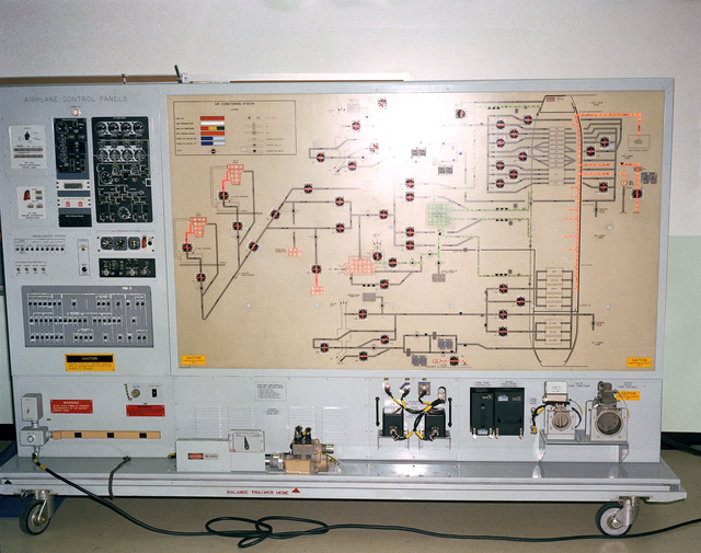 The air-conditioning trainer was developed and built by the Boeing Company for maintenance training on the environmental control system of the E-3A Sentry aircraft. Controls and indications are actual aircraft components. Airflow through the air-conditioning and pressurization systems is simulated by lighted displays