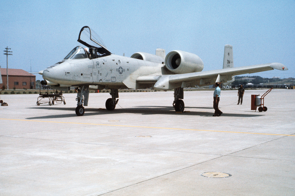 An A-10A Thunderbolt II aircraft from the 355th Tactical Fighter Wing on the flight line during a demonstration tour