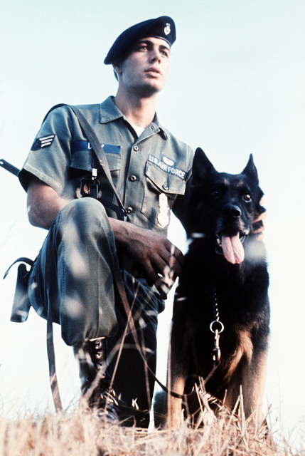 SRA Kevin Day, winner of the Outstanding AIRMAN of the Year award, poses with Briggs, his K-9 partner
