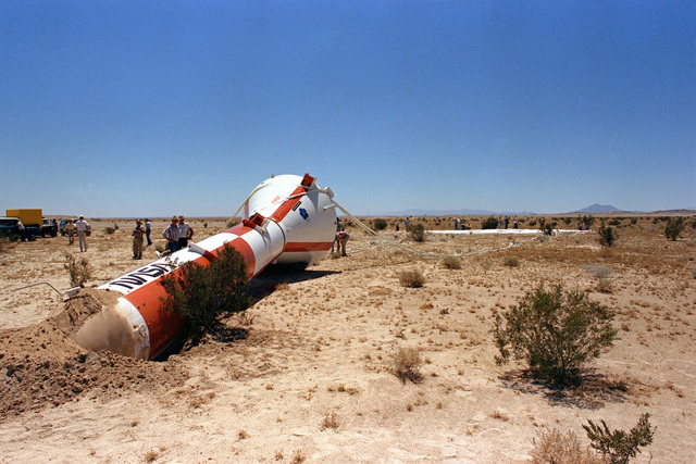 A view of the NASA Space Shuttle Program Solid Rocket Booster Deceleration Subsystem, after a parachute drop test at the National Parachute Test Range