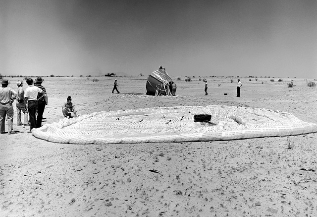 The parachute used for the NASA space Shuttle Program Solid Rocket Booster Deceleration Subsystem is examined, after a drop test at the National Parachute Test Range