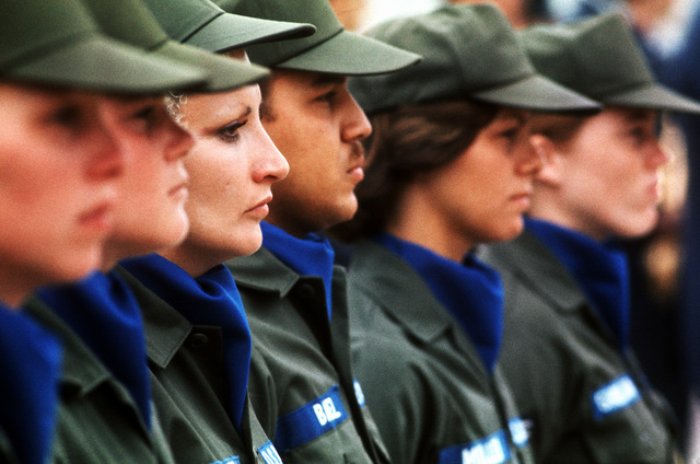 Members of the 8th Tactical Fighter Squadron stand at attention during the Reforger and Crested Cap '77 welcoming ceremonies