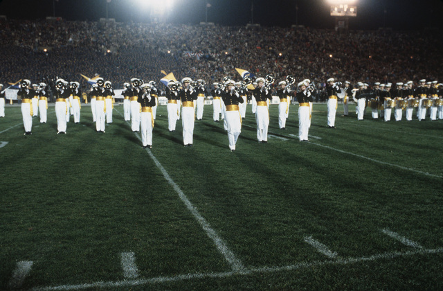 The United States Naval Academy marching band performs during halftime at the United States Navy-Marine Corps Memorial Stadium