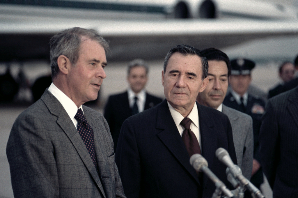 Soviet Foreign Minister Andrei Gromyko (right) is welcomed by Secretary of State Cyrus Vance as he arrives for a visit