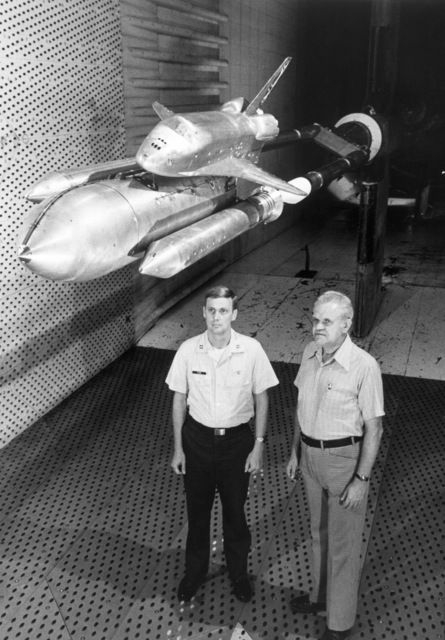 Captain (CPT) William Tuck Jr., left, an Air Force test director, and Frank Urbaniak, an ARO Inc. engineer, examine a model of a space shuttle orbiter and launch vehicle prior to a transonic wind tunnel at the Arnold Engineering Development Center