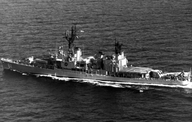 A port side view of the Allen N. Sumner class Iranian destroyer ITS BABR (D-61) underway. The ship is the former USS ZELLERS (DD-777) and was photographed carrier USS MIDWAY
